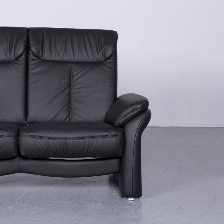 Casada Designer Leather Sofa Armchair Set Black Two-Seat Couch Recliner 2