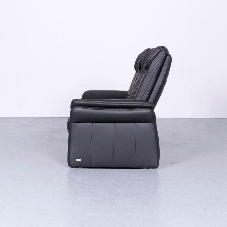 Casada Designer Leather Sofa Black Two-Seat Couch Recliner 5