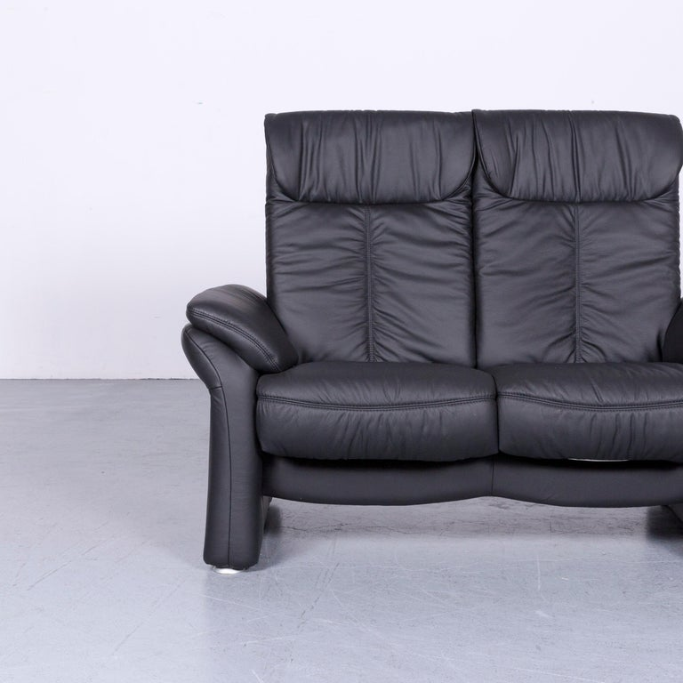 German Casada Designer Leather Sofa Black Two-Seat Couch Recliner