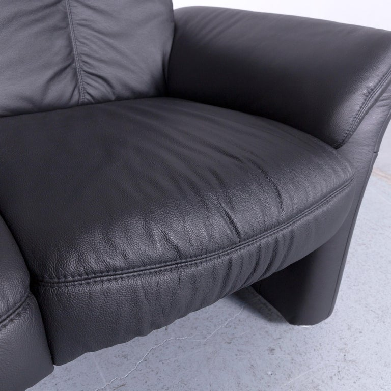 Casada Designer Leather Sofa Black Two-Seat Couch Recliner In Good Condition In Cologne, DE
