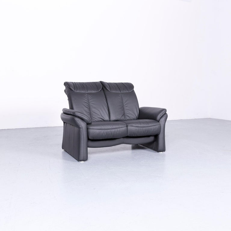 Casada Designer Leather Sofa Black Two-Seat Couch Recliner 1