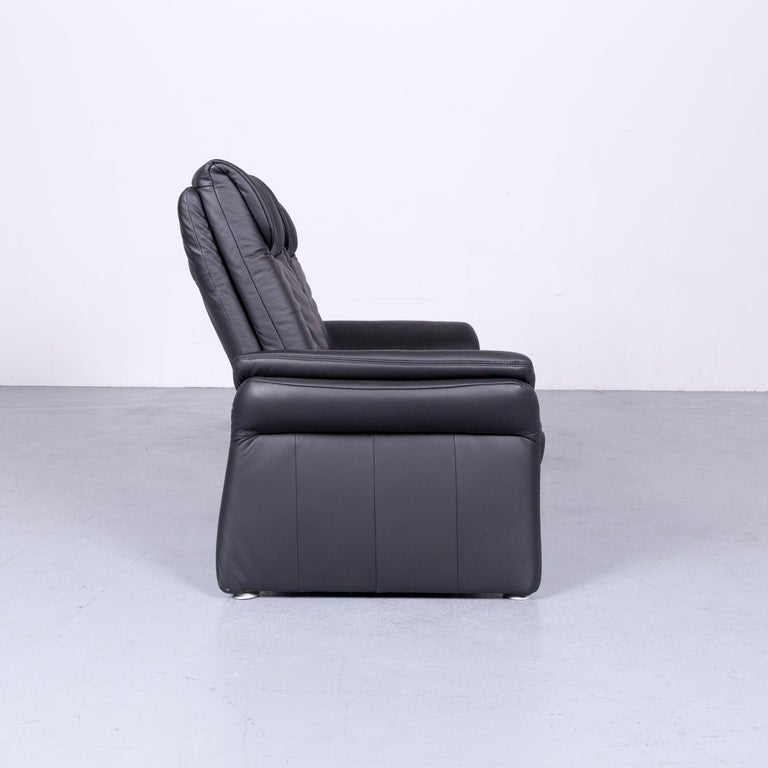 Casada Designer Leather Sofa Black Two-Seat Couch Recliner 3