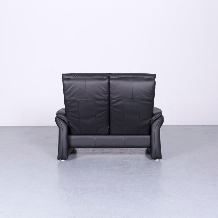 Casada Designer Leather Sofa Black Two-Seat Couch Recliner 4