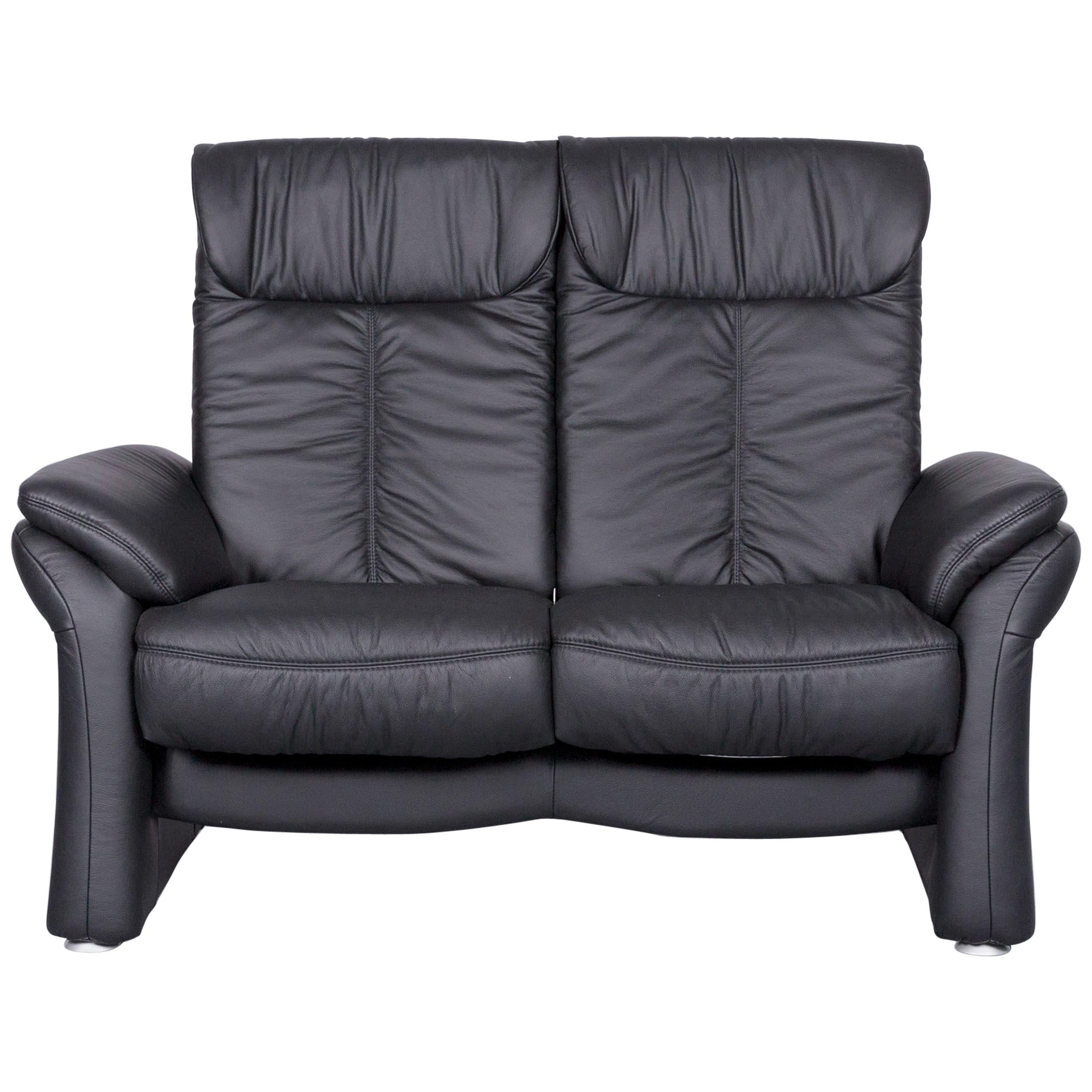 Casada Designer Leather Sofa Black Two Seat Couch Recliner