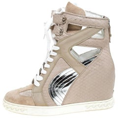 Casadei Beige Leather And Suede Wedge Lace Up Sneakers Size 40