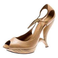 Casadei Beige Leather Peep Toe Ankle Strap Sculpted Heel Platform Sandals Size 4