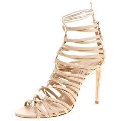 Casadei Beige Leather Strappy Tie Up Sandals Size 39