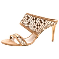 Casadei Beige Suede Laser Cut Peep Toe Sandals Size 41