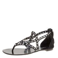 Casadei Black Cut Out Suede Crystal Embellished Flat Thong Sandals Size 36