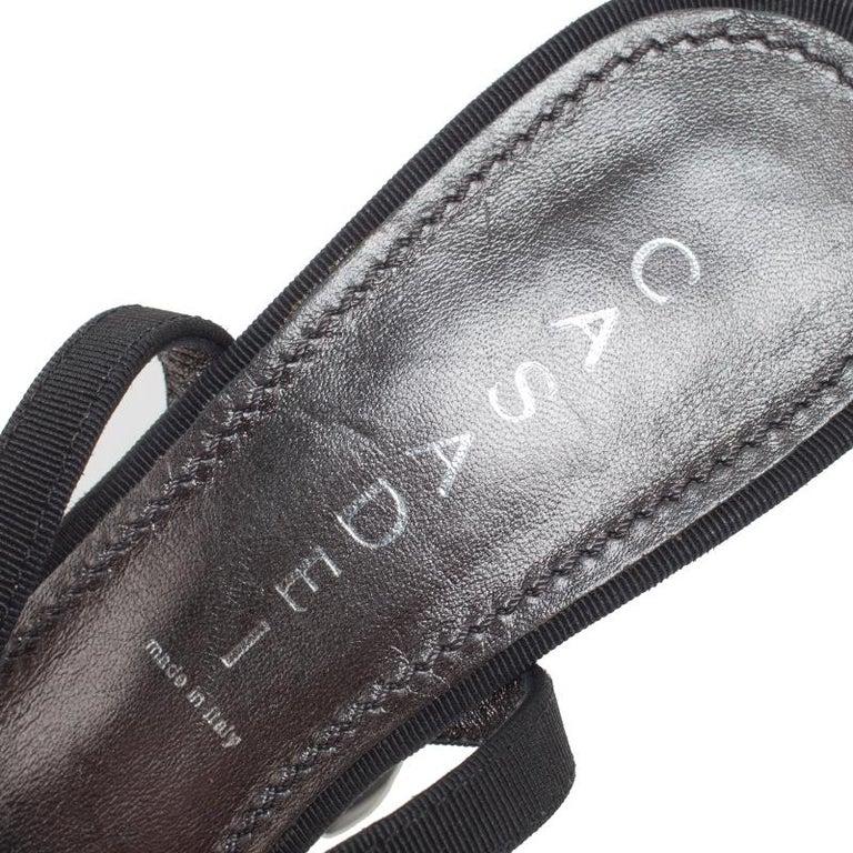 Casadei Black Grosgrain Crystal Embellished Platform Ankle Strap Sandals Size 37 For Sale 2