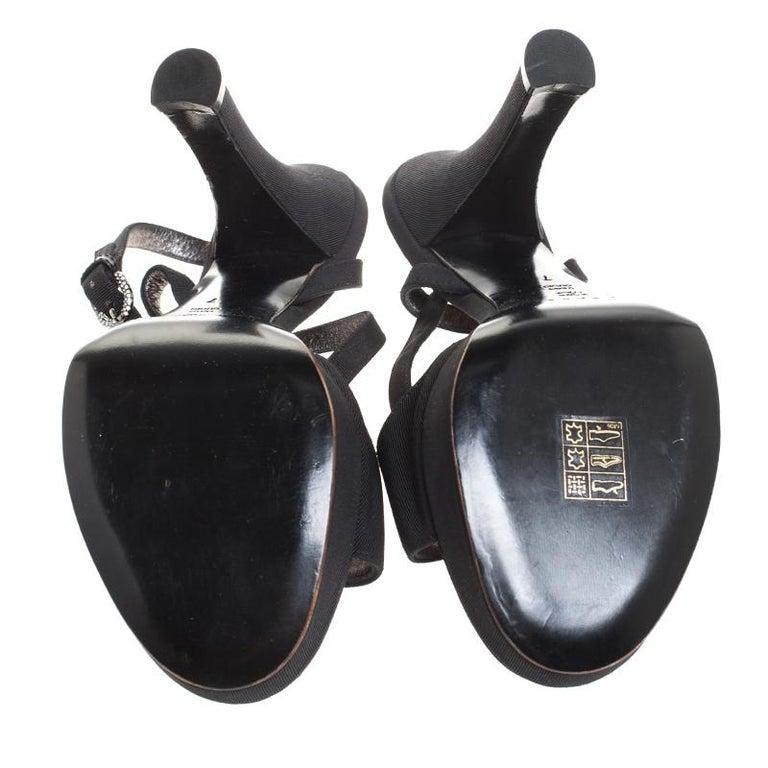 Casadei Black Grosgrain Crystal Embellished Platform Ankle Strap Sandals Size 37 For Sale 3