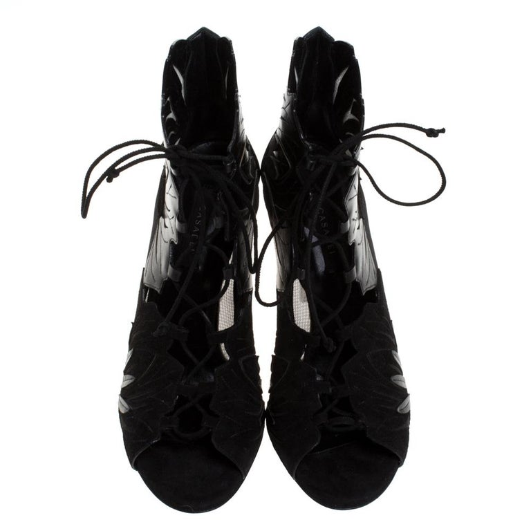 Casadei Black Laser Cut Mesh,Suede and Leather Peep Toe Lace Up Booties Size 40 In Excellent Condition For Sale In Dubai, Al Qouz 2
