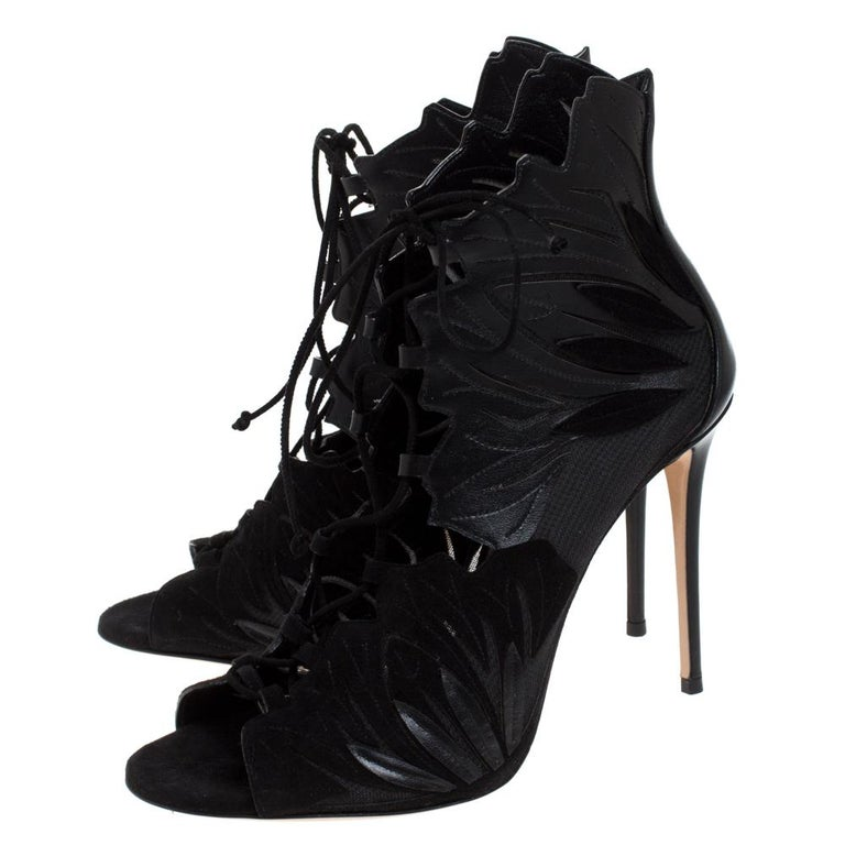 Casadei Black Laser Cut Mesh,Suede and Leather Peep Toe Lace Up Booties Size 40 For Sale 1