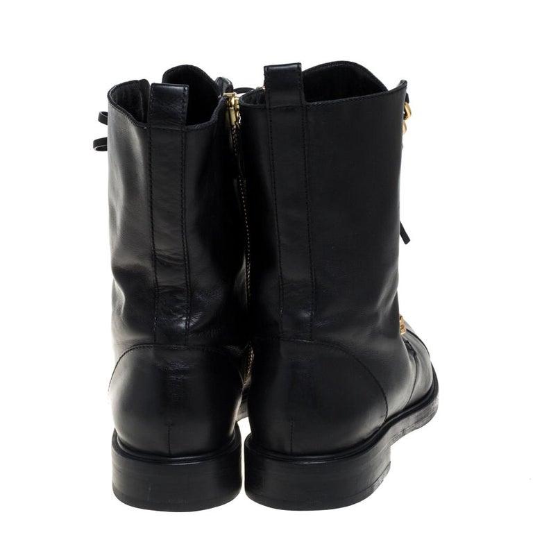 Casadei Black Leather 'City Rock' Ankle Boots Size 41 In Good Condition For Sale In Dubai, Al Qouz 2