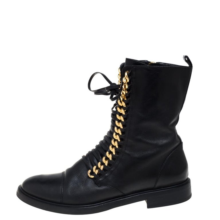 Casadei Black Leather 'City Rock' Ankle Boots Size 41 For Sale 1