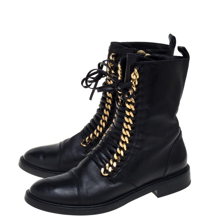 Casadei Black Leather 'City Rock' Ankle Boots Size 41 For Sale 2