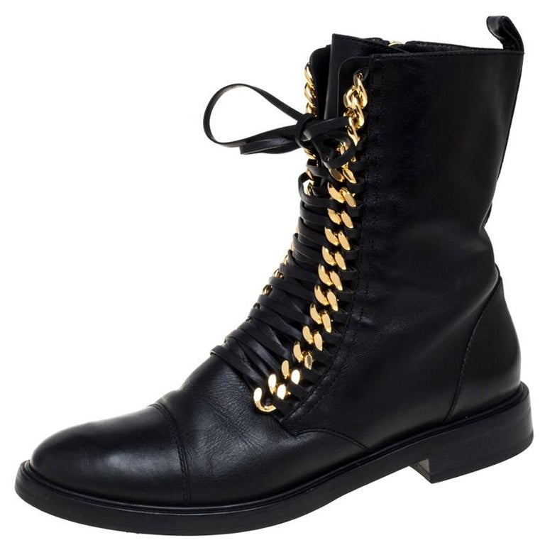 Casadei Black Leather 'City Rock' Ankle Boots Size 41 For Sale