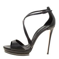 Casadei Black Leather Cross Strap Platform Sandals Size 39