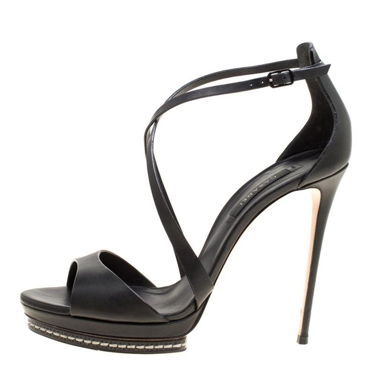 97ce1d75232 Casadei Black Leather Cross Strap Platform Sandals Size 39 For Sale ...