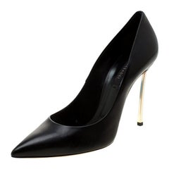 Casadei Black Leather Pointed Toe Pumps Size 40