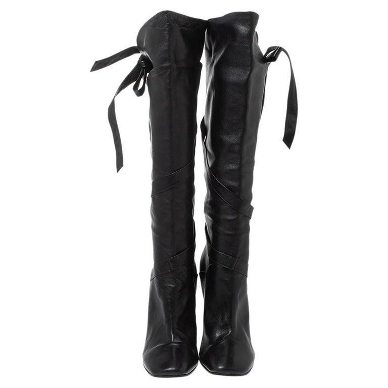 Casadei Black Leather Wrap Strap Knee High Boots Size 40 In Good Condition For Sale In Dubai, Al Qouz 2