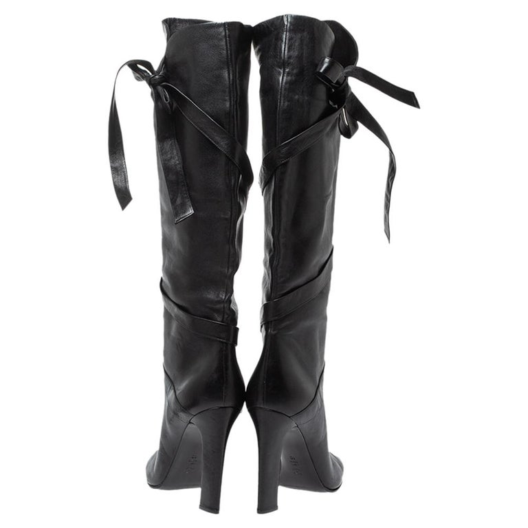 Women's Casadei Black Leather Wrap Strap Knee High Boots Size 40 For Sale
