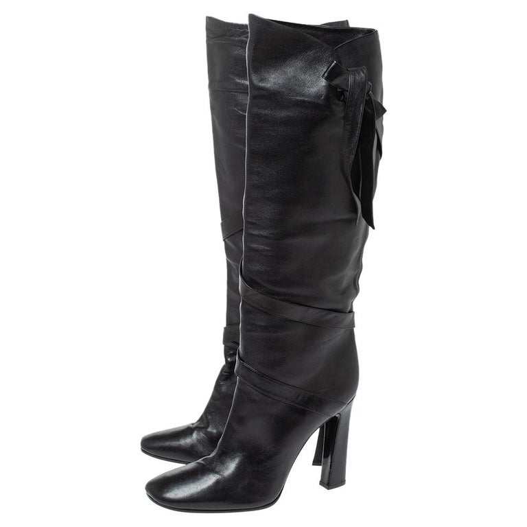 Casadei Black Leather Wrap Strap Knee High Boots Size 40 For Sale 1