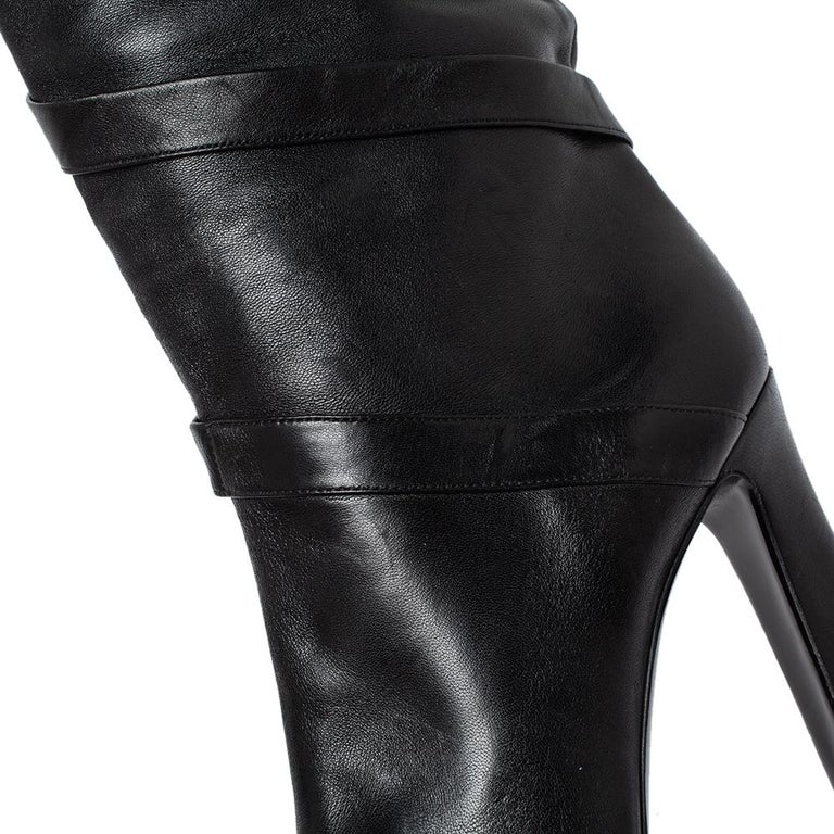 Casadei Black Leather Wrap Strap Knee High Boots Size 40 For Sale 2