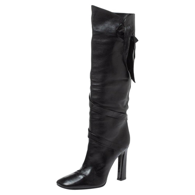 Casadei Black Leather Wrap Strap Knee High Boots Size 40 For Sale