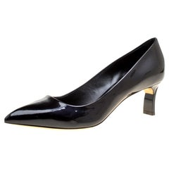 Casadei Black Patent Leather Pointed Toe Pumps Size 39