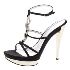 Casadei Black Satin Crystal Embellished Platform Strappy Sandals Size 40