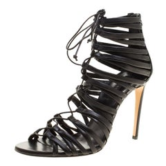 Casadei Black Strappy Leather Lace Up Gladiator Sandals Size 37.5