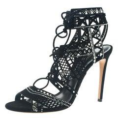 Casadei Black Suede Crystal Embellished Strappy Sandals Size 41.5