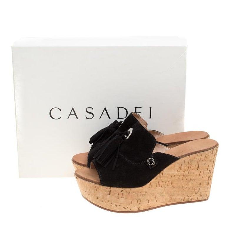 58165c878d3 Casadei Black Suede Tassel Peep Toe Cork Platform Wedge Slides Size 40 For  Sale 3