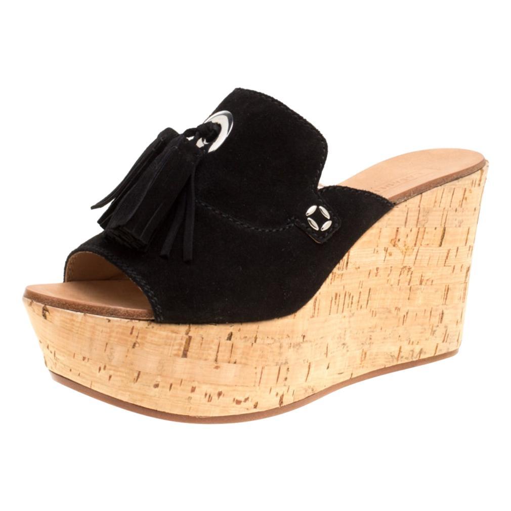 Black Gold Studded Peep Toe Cork Wedges
