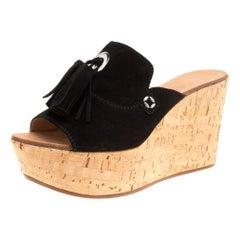 Casadei Black Suede Tassel Peep Toe Cork Platform Wedge Slides Size 40
