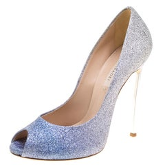 Casadei Blue and Silver Ombrè Glitter Pegasus Peep Toe Pumps Size 40