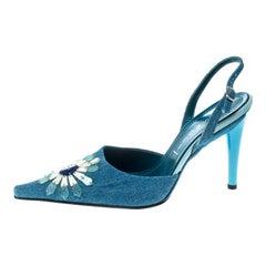 Casadei Blue Denim Pointed Toe Slingback Sandals Size 37.5