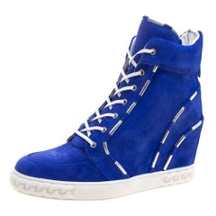 Casadei Blue Suede High Top Wedge Sneakers Size 37.5
