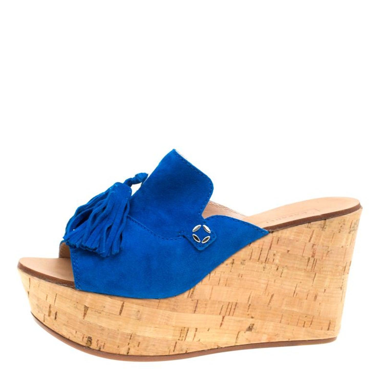 4ebca41ed5e Casadei Blue Suede Tassel Peep Toe Cork Platform Wedge Slides Size 40 For  Sale at 1stdibs