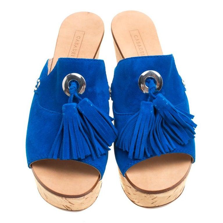 78c31c509c1 Orange Casadei Blue Suede Tassel Peep Toe Cork Platform Wedge Slides Size  40 For Sale