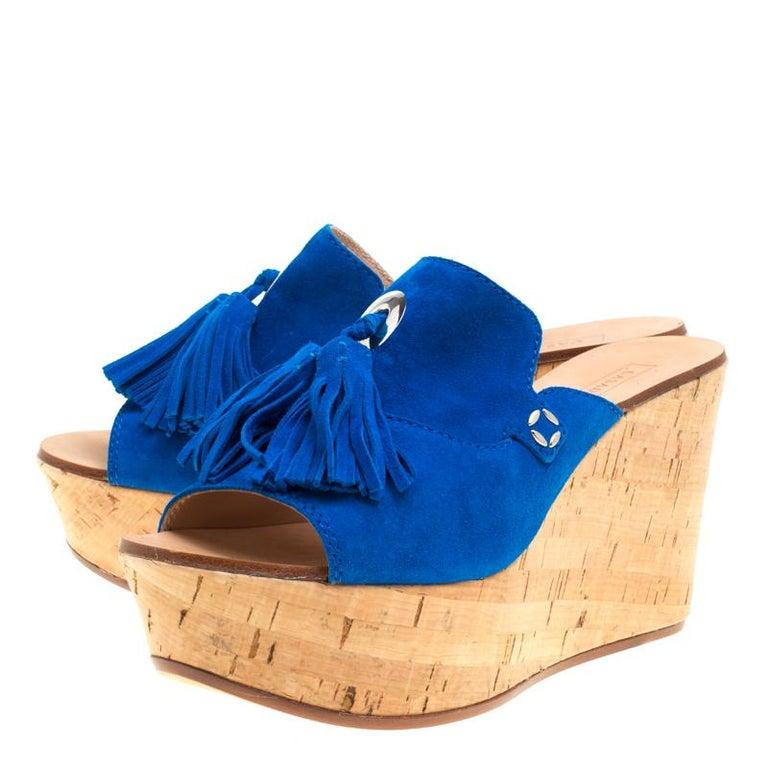 bd605fa0d7f Casadei Blue Suede Tassel Peep Toe Cork Platform Wedge Slides Size 40 In  New Condition For