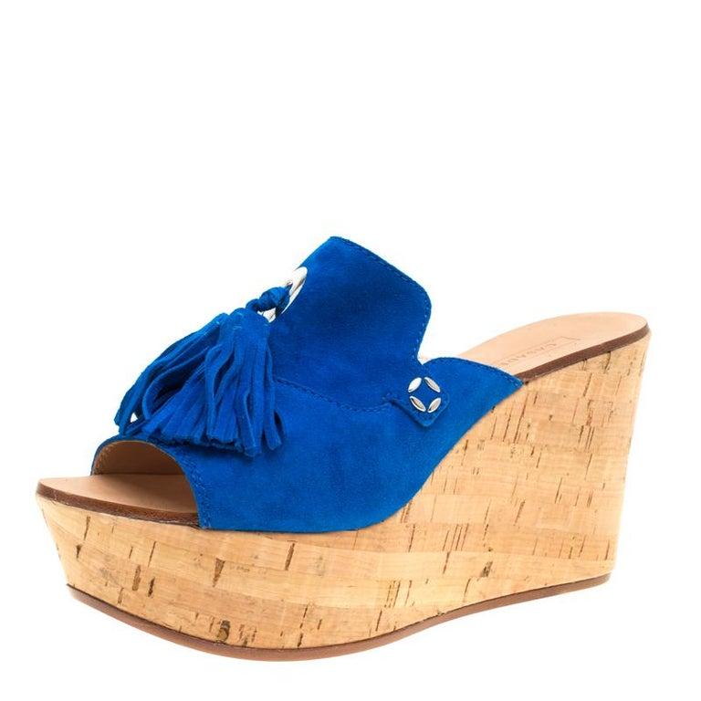 7b5ee2b8f63 Casadei Blue Suede Tassel Peep Toe Cork Platform Wedge Slides Size 40 For  Sale