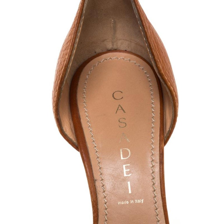 Casadei Brown Leather Padlock Detail Half D'orsay Pumps Size 37.5 For Sale 2