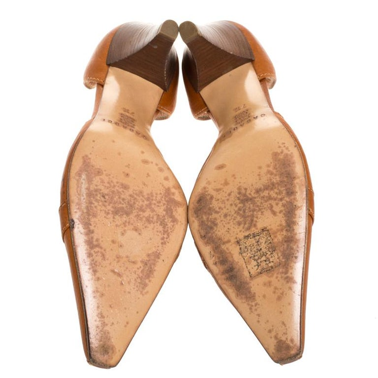 Casadei Brown Leather Padlock Detail Half D'orsay Pumps Size 37.5 For Sale 3