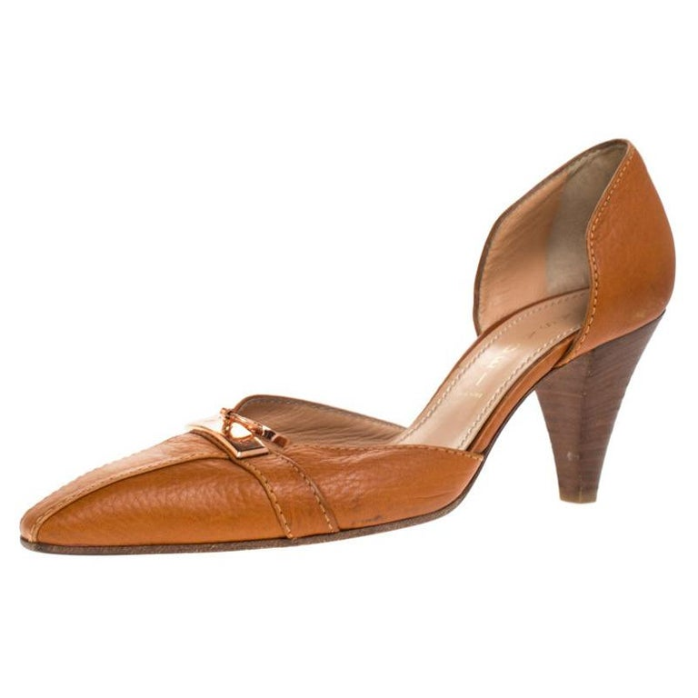Casadei Brown Leather Padlock Detail Half D'orsay Pumps Size 37.5 For Sale