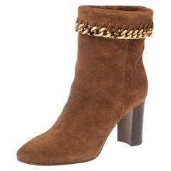 Casadei Brown Suede Renna Chain Trim Ankle Boots Size 37