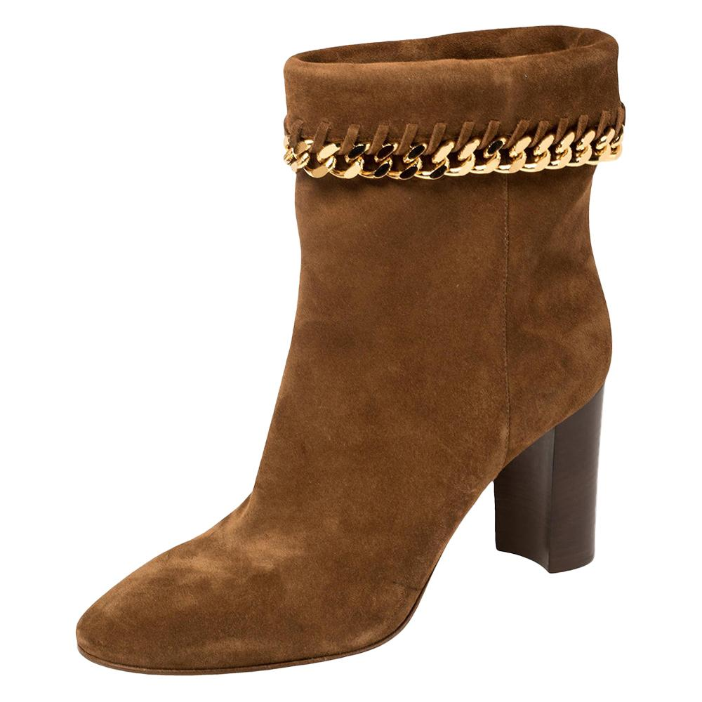 Casadei Brown Suede Renna Chain Trim Ankle Boots Size 40
