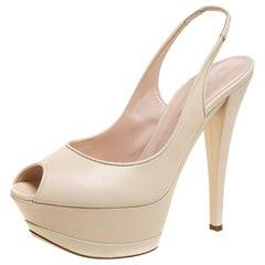 Casadei Cream Leather Platform Slingback Peep Toe Sandals Size 38