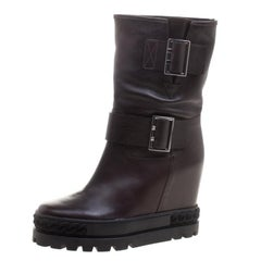 Casadei Dark Brown Leather Wedge Boots Size 40